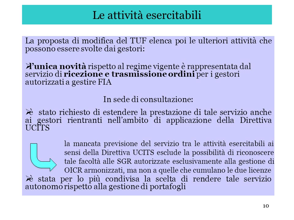 10 Le attività esercitabili La proposta di modifica del TUF elenca poi le ulteriori attività che possono essere svolte dai gestori: lunica novità risp