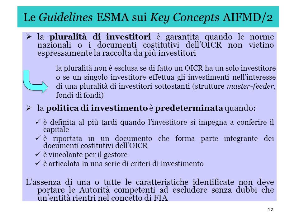 12 Le Guidelines ESMA sui Key Concepts AIFMD/2 la pluralità di investitori è garantita quando le norme nazionali o i documenti costitutivi dellOICR no