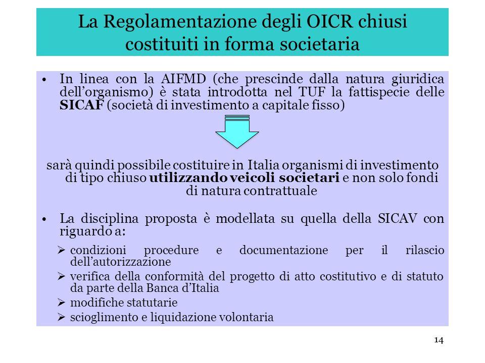14 La Regolamentazione degli OICR chiusi costituiti in forma societaria In linea con la AIFMD (che prescinde dalla natura giuridica dellorganismo) è s