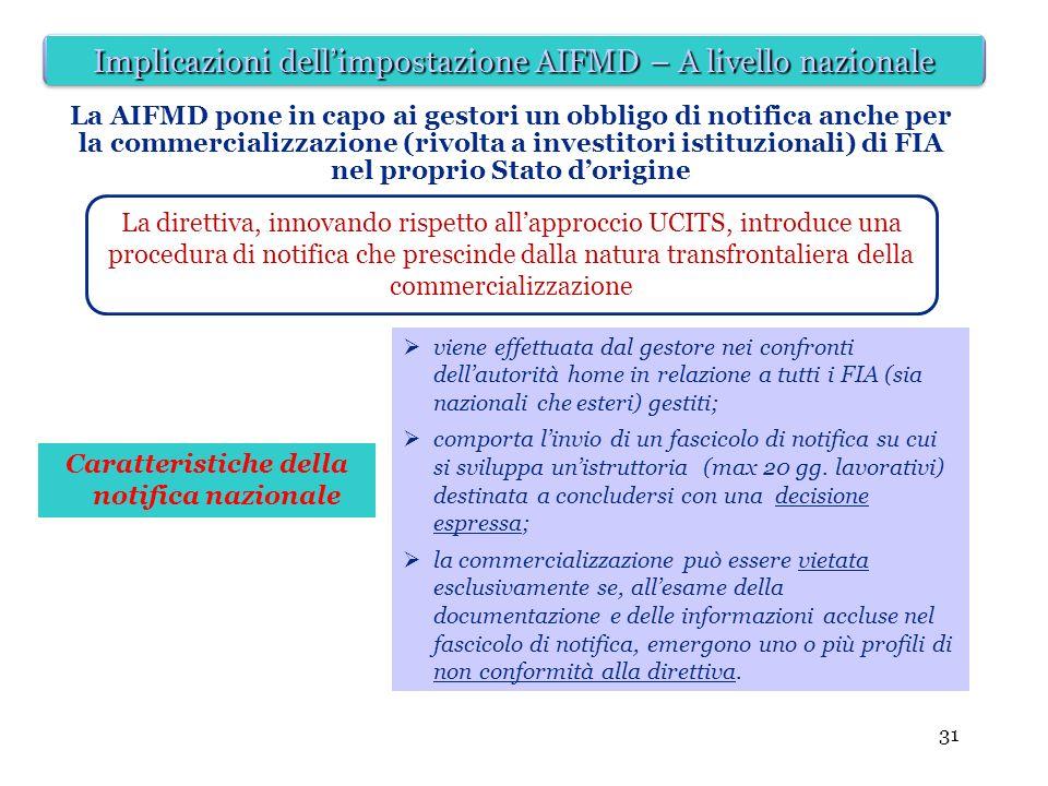 31 Caratteristiche della notifica nazionale La AIFMD pone in capo ai gestori un obbligo di notifica anche per la commercializzazione (rivolta a invest