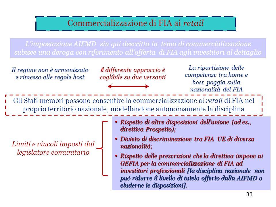 33 Gli Stati membri possono consentire la commercializzazione ai retail di FIA nel proprio territorio nazionale, modellandone autonomamente la discipl