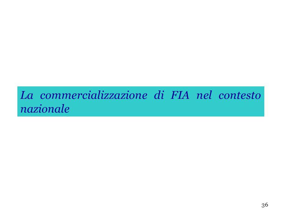 36 La commercializzazione di FIA nel contesto nazionale