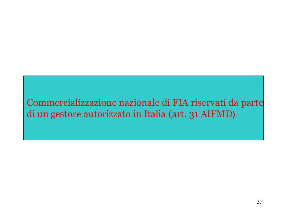 37 Commercializzazione nazionale di FIA riservati da parte di un gestore autorizzato in Italia (art. 31 AIFMD )