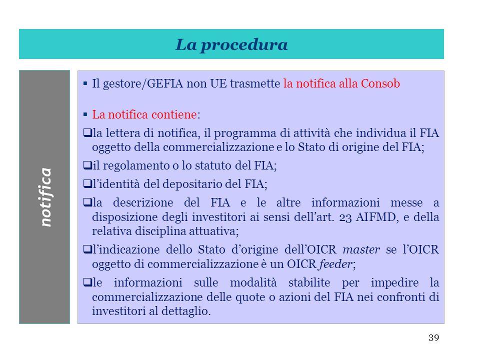 39 Il gestore/GEFIA non UE trasmette la notifica alla Consob La notifica contiene: la lettera di notifica, il programma di attività che individua il F
