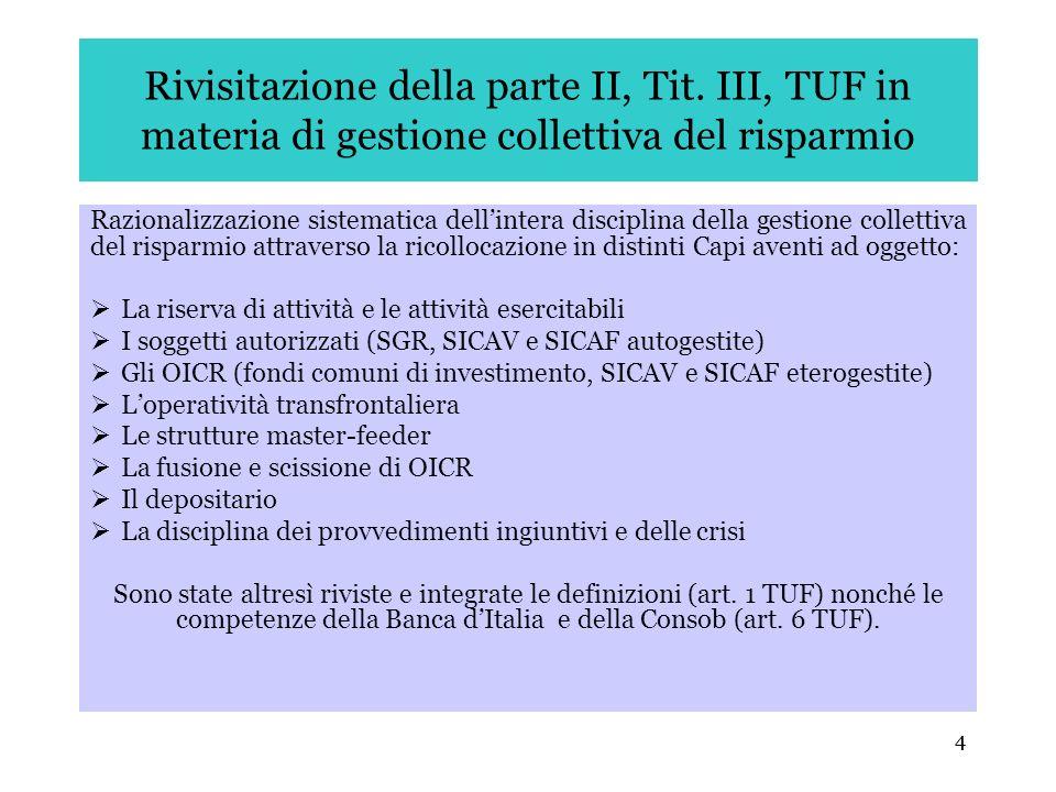 4 Rivisitazione della parte II, Tit. III, TUF in materia di gestione collettiva del risparmio Razionalizzazione sistematica dellintera disciplina dell
