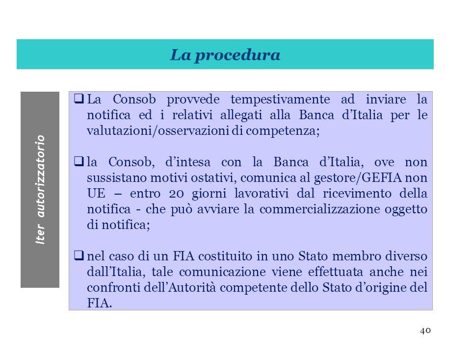 40 La Consob provvede tempestivamente ad inviare la notifica ed i relativi allegati alla Banca dItalia per le valutazioni/osservazioni di competenza;