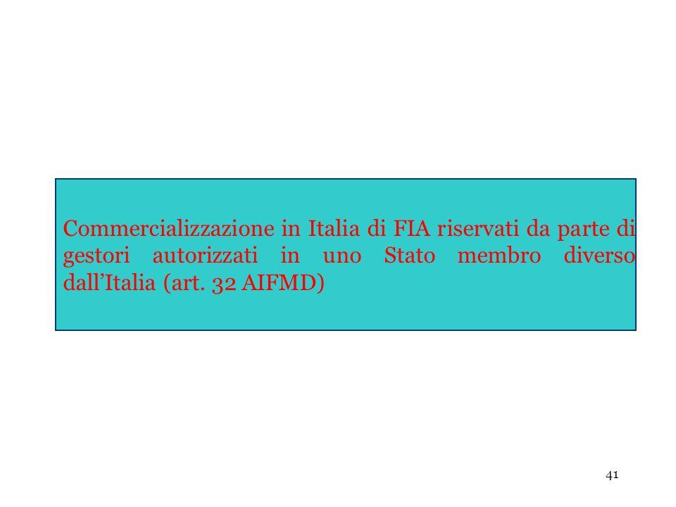 41 Commercializzazione in Italia di FIA riservati da parte di gestori autorizzati in uno Stato membro diverso dallItalia (art. 32 AIFMD)