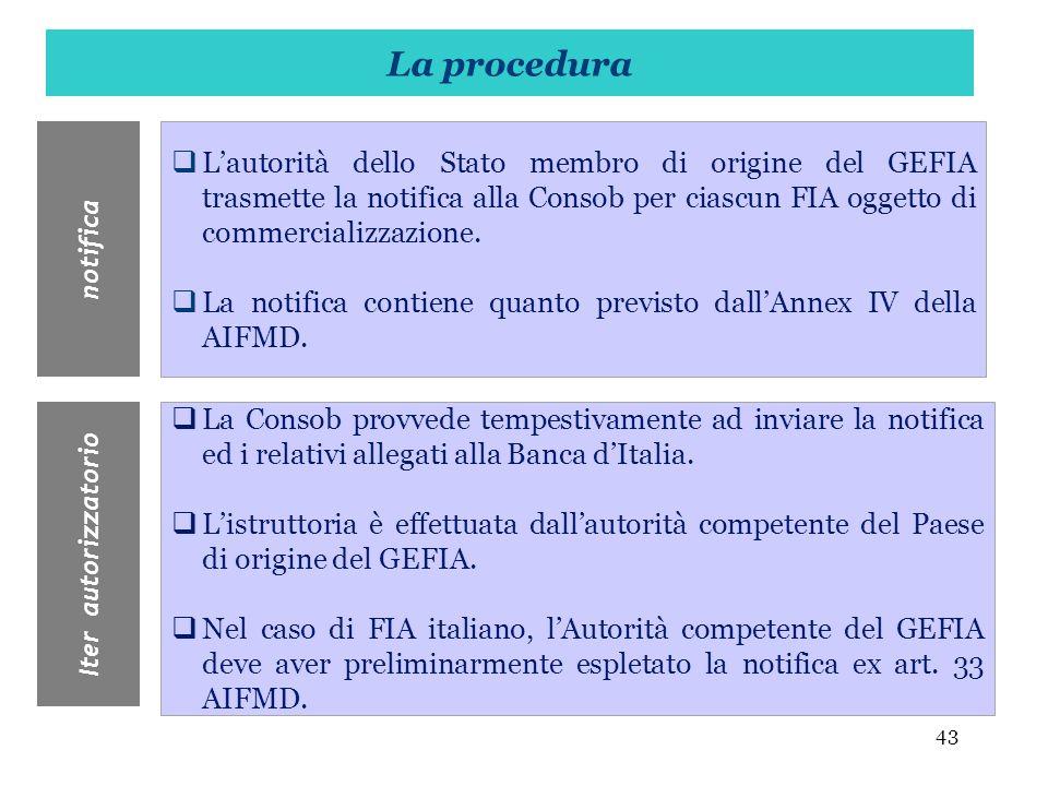 43 Lautorità dello Stato membro di origine del GEFIA trasmette la notifica alla Consob per ciascun FIA oggetto di commercializzazione. La notifica con