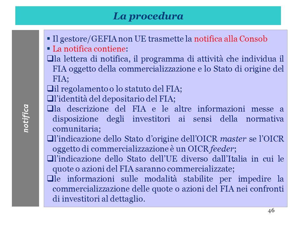46 Il gestore/GEFIA non UE trasmette la notifica alla Consob La notifica contiene: la lettera di notifica, il programma di attività che individua il F