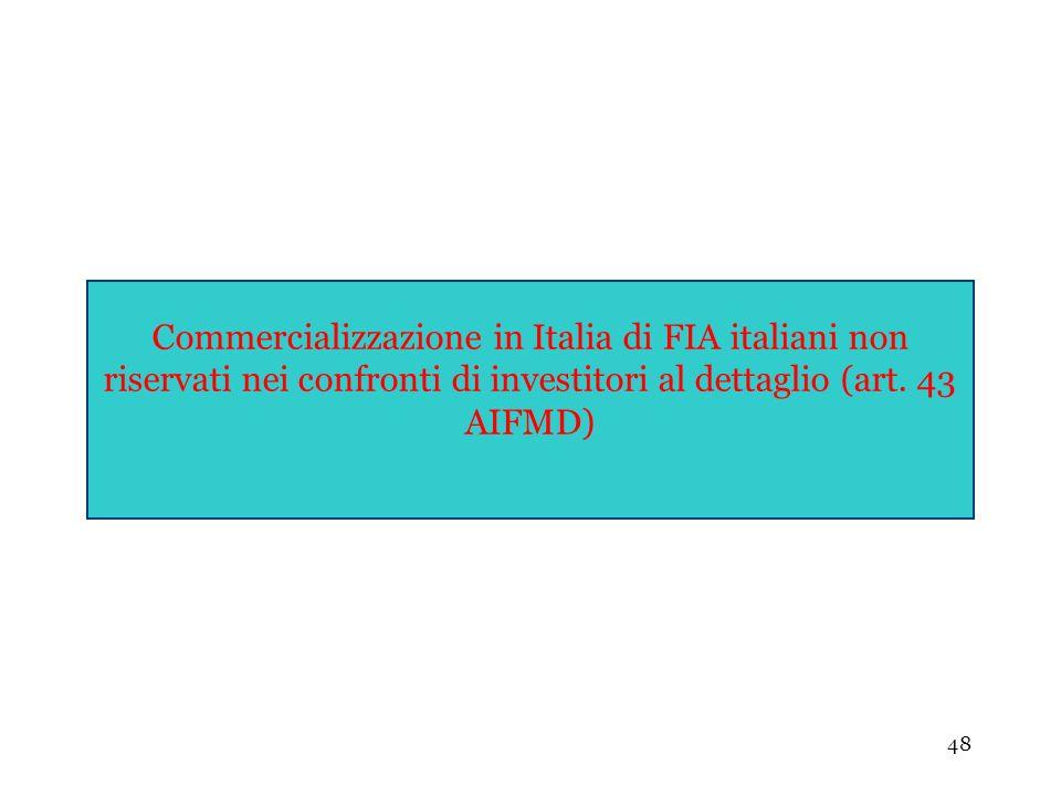 48 Commercializzazione in Italia di FIA italiani non riservati nei confronti di investitori al dettaglio (art. 43 AIFMD)
