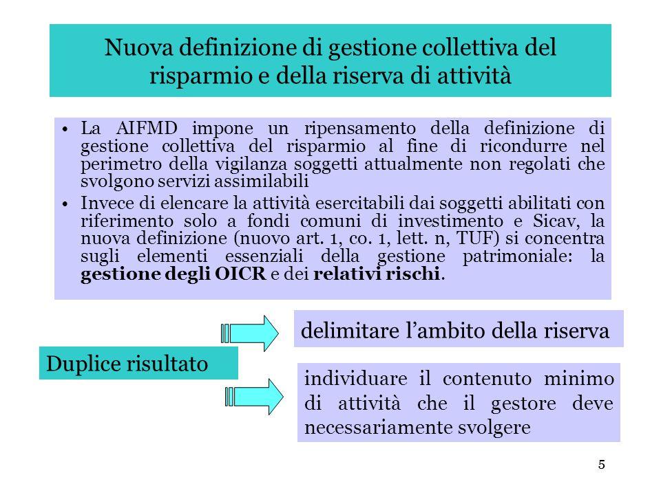 5 Nuova definizione di gestione collettiva del risparmio e della riserva di attività La AIFMD impone un ripensamento della definizione di gestione col