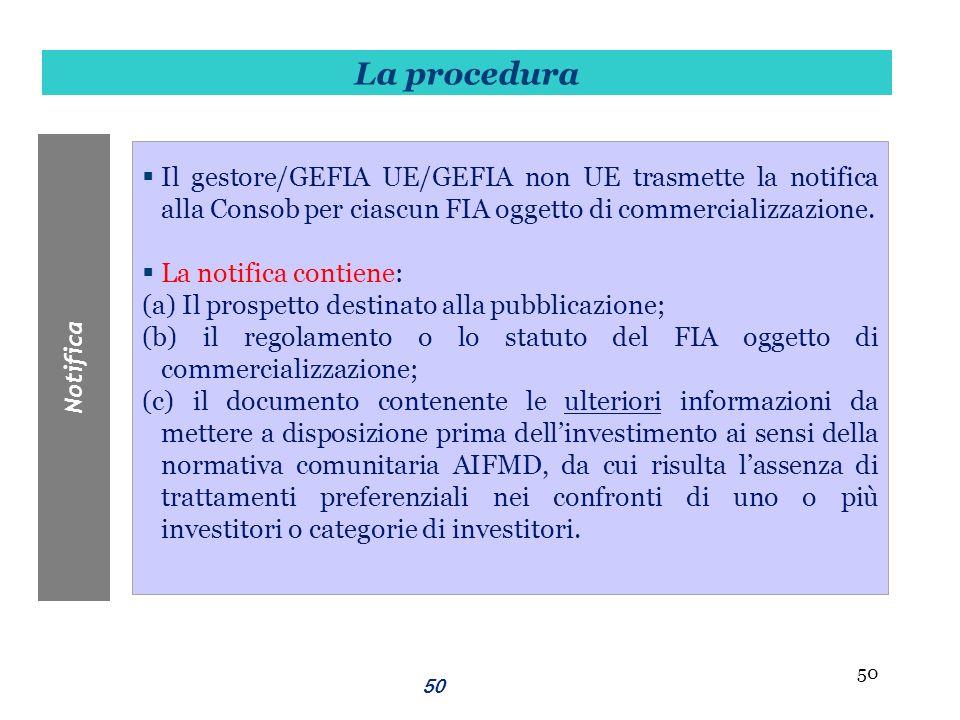 50 Il gestore/GEFIA UE/GEFIA non UE trasmette la notifica alla Consob per ciascun FIA oggetto di commercializzazione. La notifica contiene: (a) Il pro