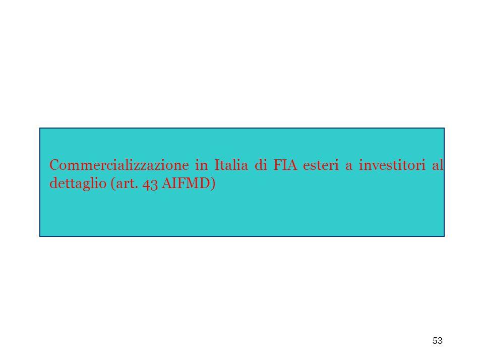 53 Commercializzazione in Italia di FIA esteri a investitori al dettaglio (art. 43 AIFMD)