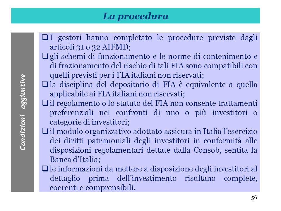 56 I gestori hanno completato le procedure previste dagli articoli 31 o 32 AIFMD; gli schemi di funzionamento e le norme di contenimento e di fraziona