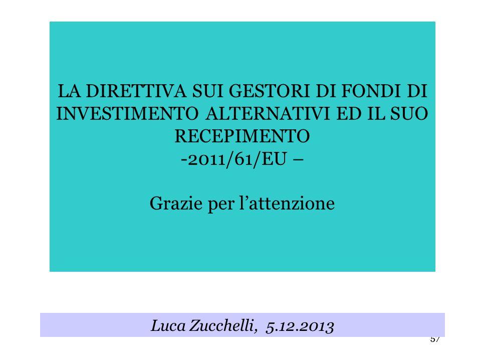 57 LA DIRETTIVA SUI GESTORI DI FONDI DI INVESTIMENTO ALTERNATIVI ED IL SUO RECEPIMENTO -2011/61/EU – Grazie per lattenzione Luca Zucchelli, 5.12.2013