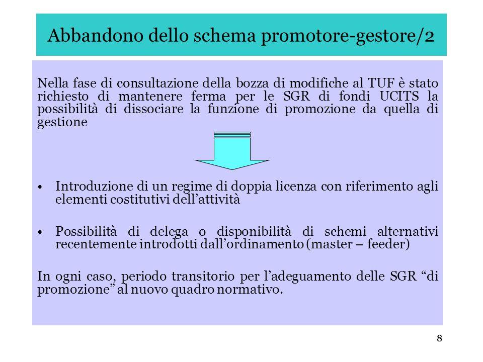 8 Abbandono dello schema promotore-gestore/2 Nella fase di consultazione della bozza di modifiche al TUF è stato richiesto di mantenere ferma per le S