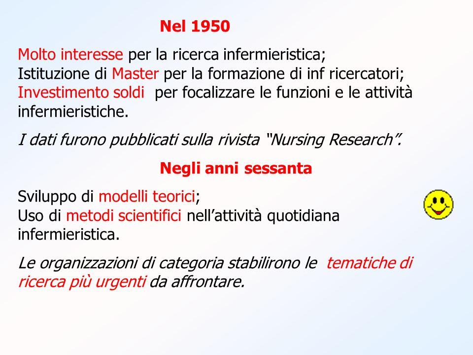 Nel 1950 Molto interesse per la ricerca infermieristica; Istituzione di Master per la formazione di inf ricercatori; Investimento soldi per focalizzar
