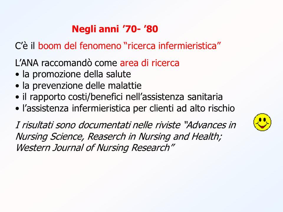 Negli anni 70- 80 Cè il boom del fenomeno ricerca infermieristica LANA raccomandò come area di ricerca la promozione della salute la prevenzione delle