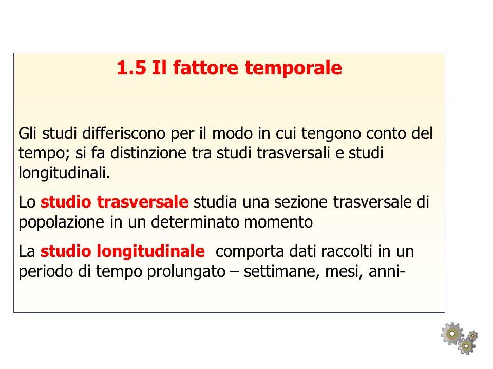 1.5 Il fattore temporale Gli studi differiscono per il modo in cui tengono conto del tempo; si fa distinzione tra studi trasversali e studi longitudin