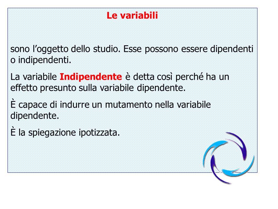 Le variabili sono loggetto dello studio. Esse possono essere dipendenti o indipendenti. La variabile Indipendente è detta così perché ha un effetto pr
