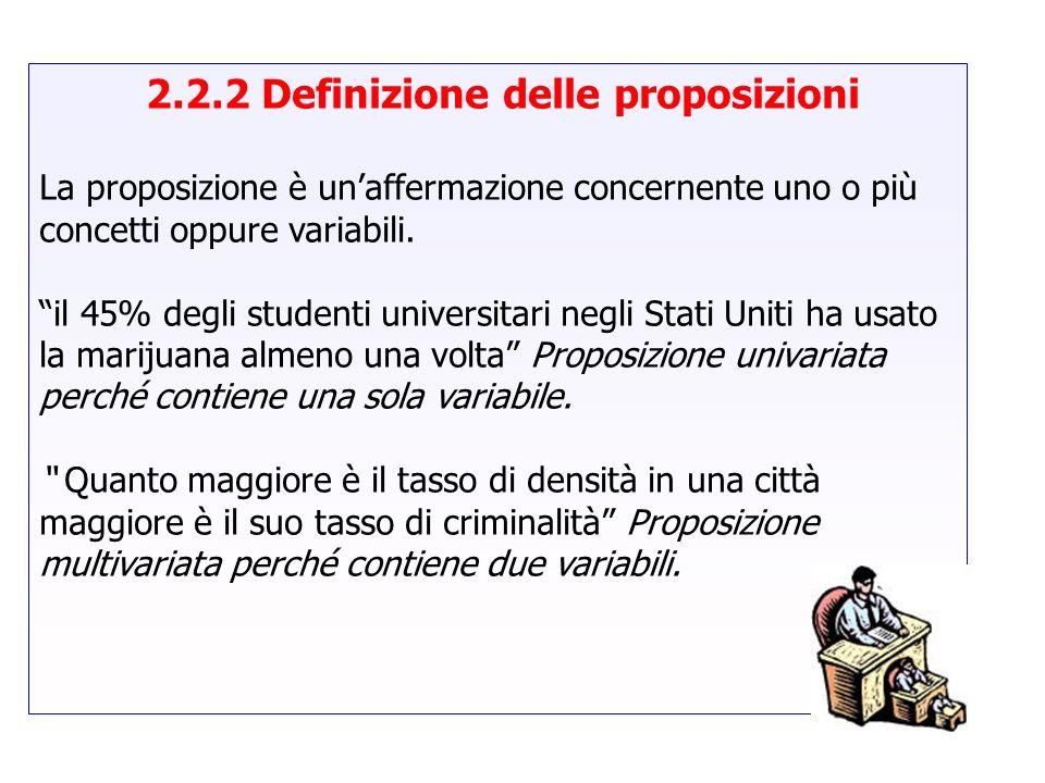2.2.2 Definizione delle proposizioni La proposizione è unaffermazione concernente uno o più concetti oppure variabili. il 45% degli studenti universit