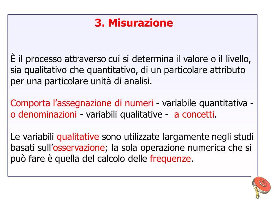 3. Misurazione È il processo attraverso cui si determina il valore o il livello, sia qualitativo che quantitativo, di un particolare attributo per una
