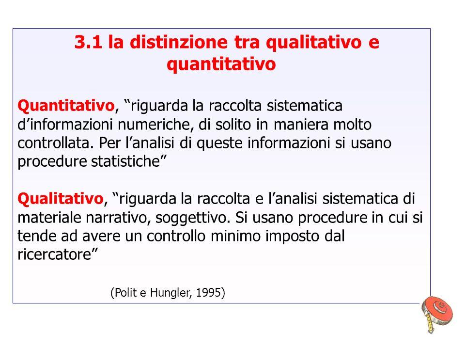3.1 la distinzione tra qualitativo e quantitativo Quantitativo, riguarda la raccolta sistematica dinformazioni numeriche, di solito in maniera molto c