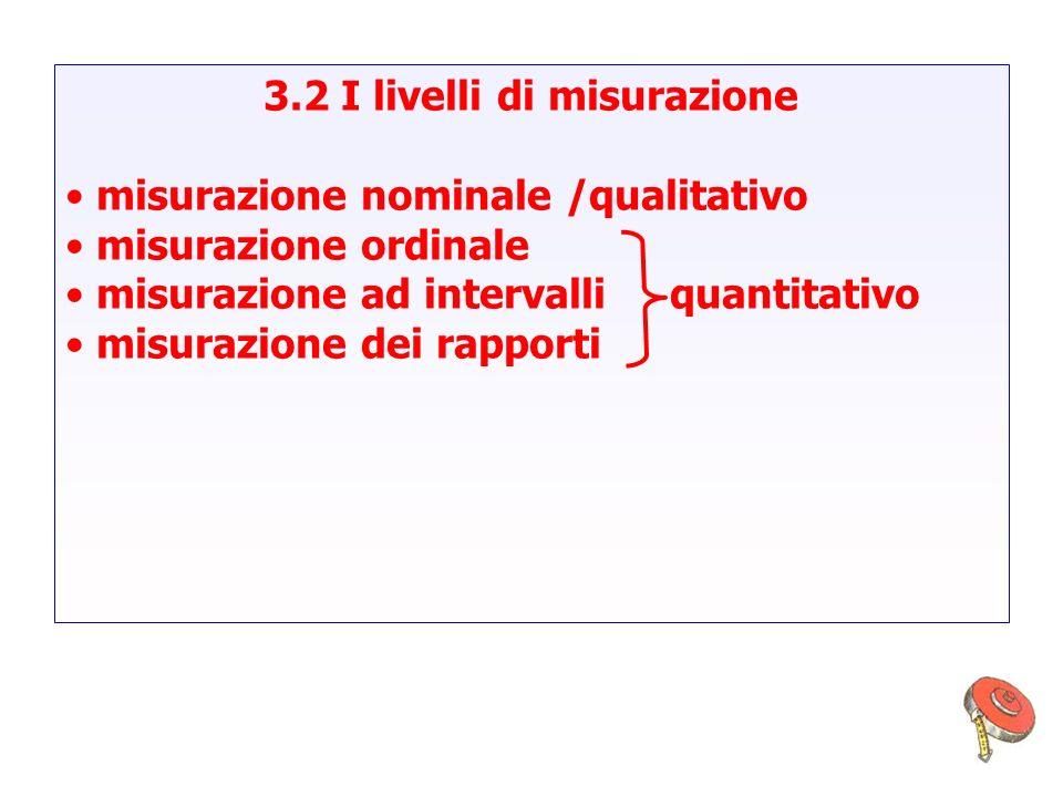 3.2 I livelli di misurazione misurazione nominale /qualitativo misurazione ordinale misurazione ad intervalli quantitativo misurazione dei rapporti