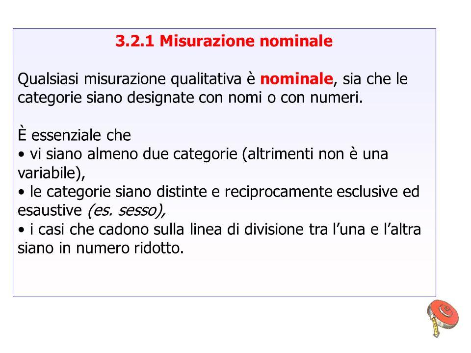 3.2.1 Misurazione nominale Qualsiasi misurazione qualitativa è nominale, sia che le categorie siano designate con nomi o con numeri. È essenziale che