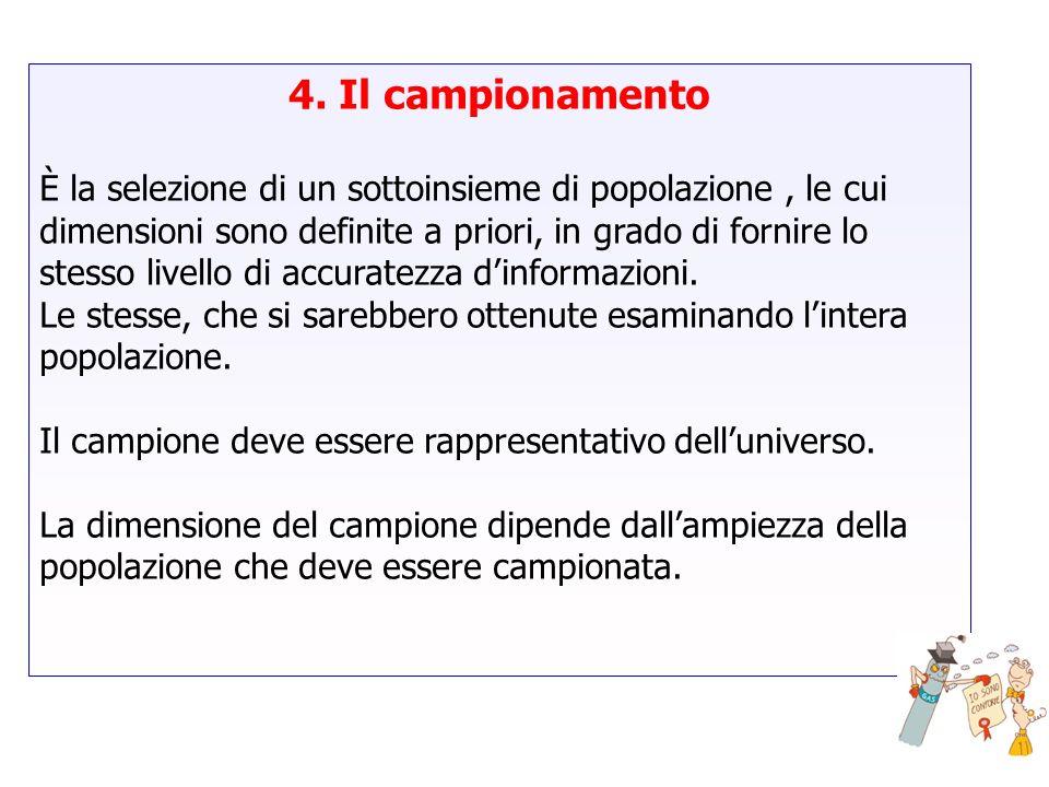 4. Il campionamento È la selezione di un sottoinsieme di popolazione, le cui dimensioni sono definite a priori, in grado di fornire lo stesso livello