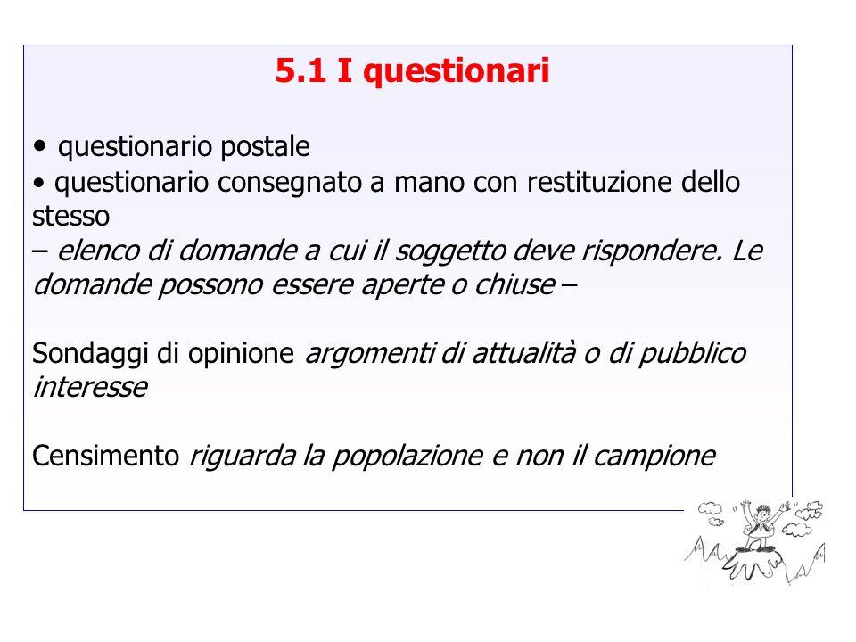 5.1 I questionari questionario postale questionario consegnato a mano con restituzione dello stesso – elenco di domande a cui il soggetto deve rispond