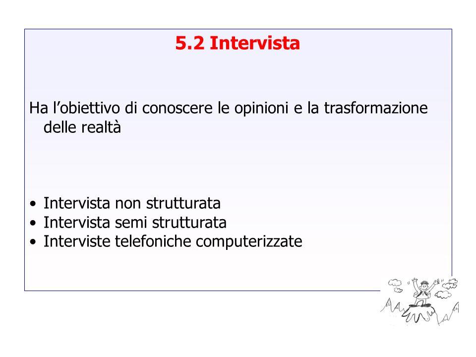 5.2 Intervista Ha lobiettivo di conoscere le opinioni e la trasformazione delle realtà Intervista non strutturata Intervista semi strutturata Intervis