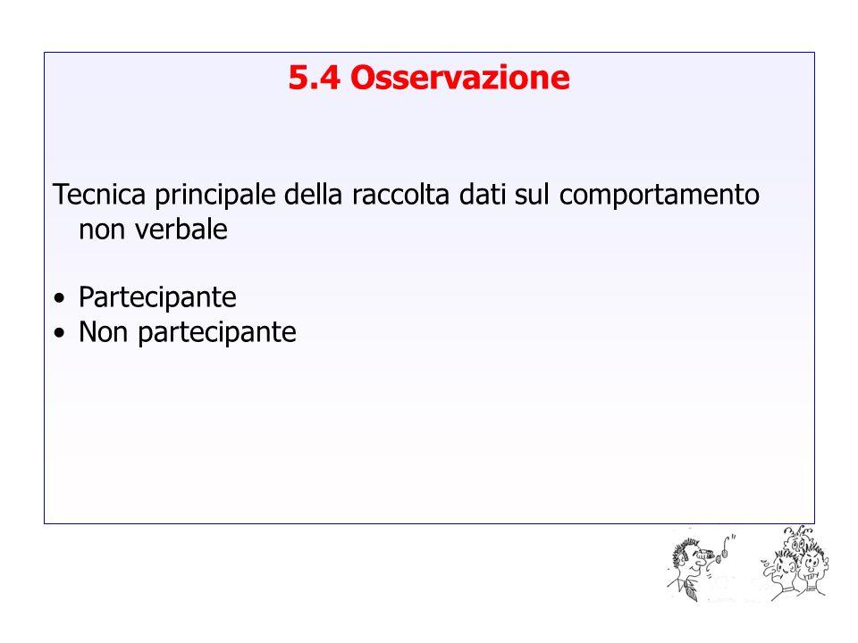 5.4 Osservazione Tecnica principale della raccolta dati sul comportamento non verbale Partecipante Non partecipante