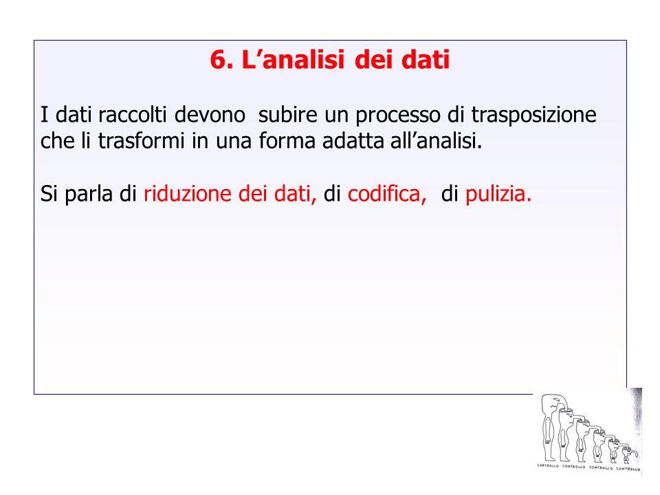 6. Lanalisi dei dati I dati raccolti devono subire un processo di trasposizione che li trasformi in una forma adatta allanalisi. Si parla di riduzione