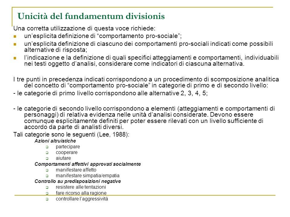 Unicità del fundamentum divisionis Una corretta utilizzazione di questa voce richiede: unesplicita definizione di comportamento pro-sociale; unesplici