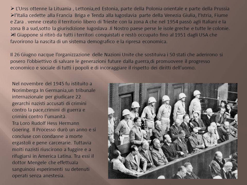 LUrss ottenne la Lituania, Lettonia,ed Estonia, parte della Polonia orientale e parte della Prussia lItalia cedette alla Francia Briga e Tenda alla Iu