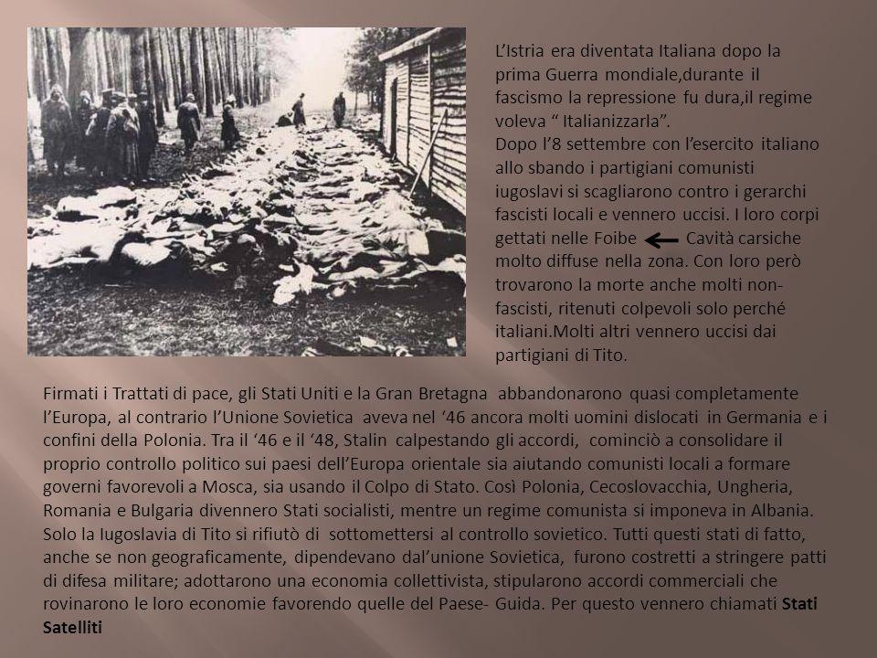LIstria era diventata Italiana dopo la prima Guerra mondiale,durante il fascismo la repressione fu dura,il regime voleva Italianizzarla. Dopo l8 sette