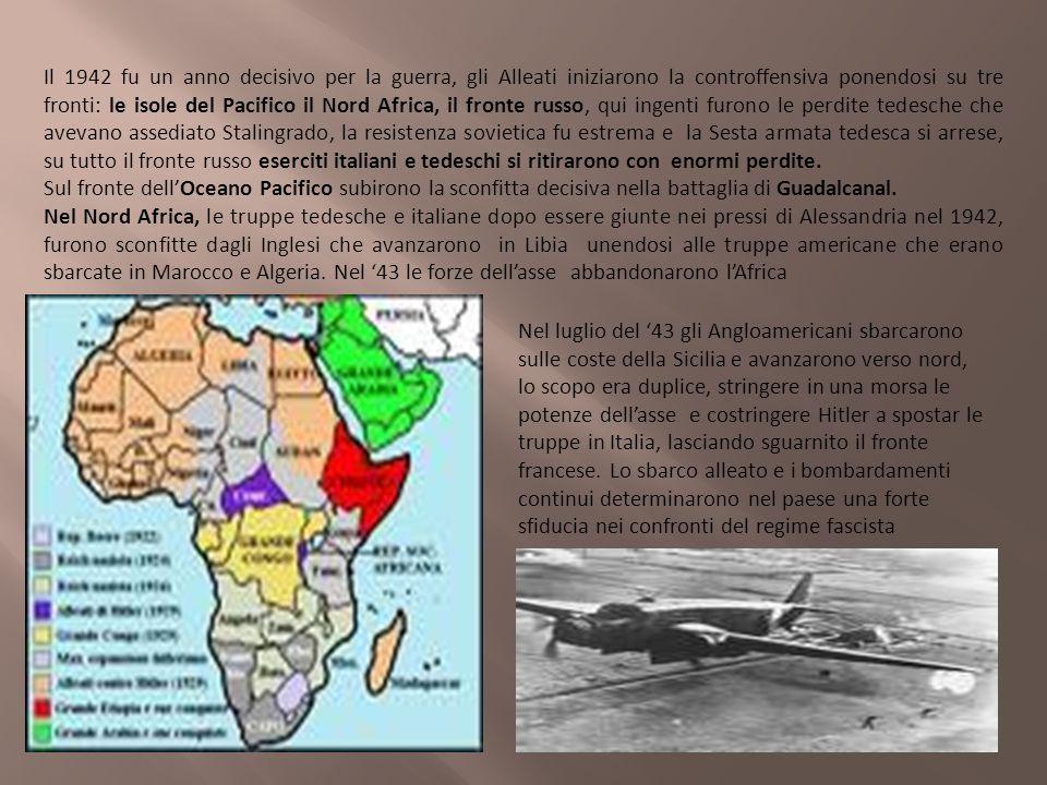 Il 1942 fu un anno decisivo per la guerra, gli Alleati iniziarono la controffensiva ponendosi su tre fronti: le isole del Pacifico il Nord Africa, il