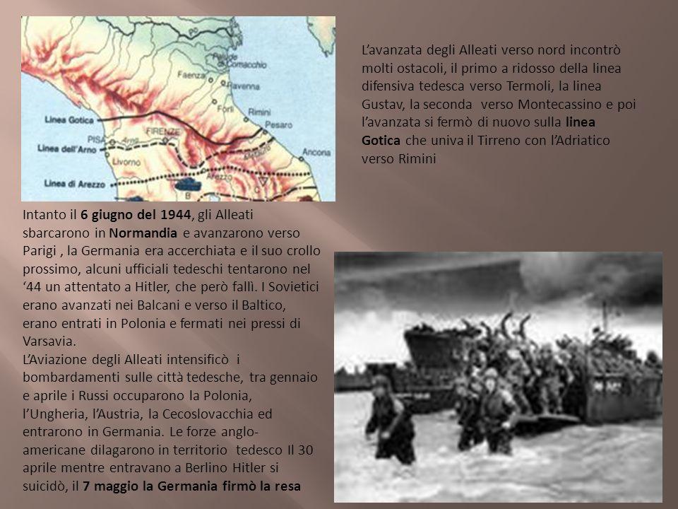 Lavanzata degli Alleati verso nord incontrò molti ostacoli, il primo a ridosso della linea difensiva tedesca verso Termoli, la linea Gustav, la second