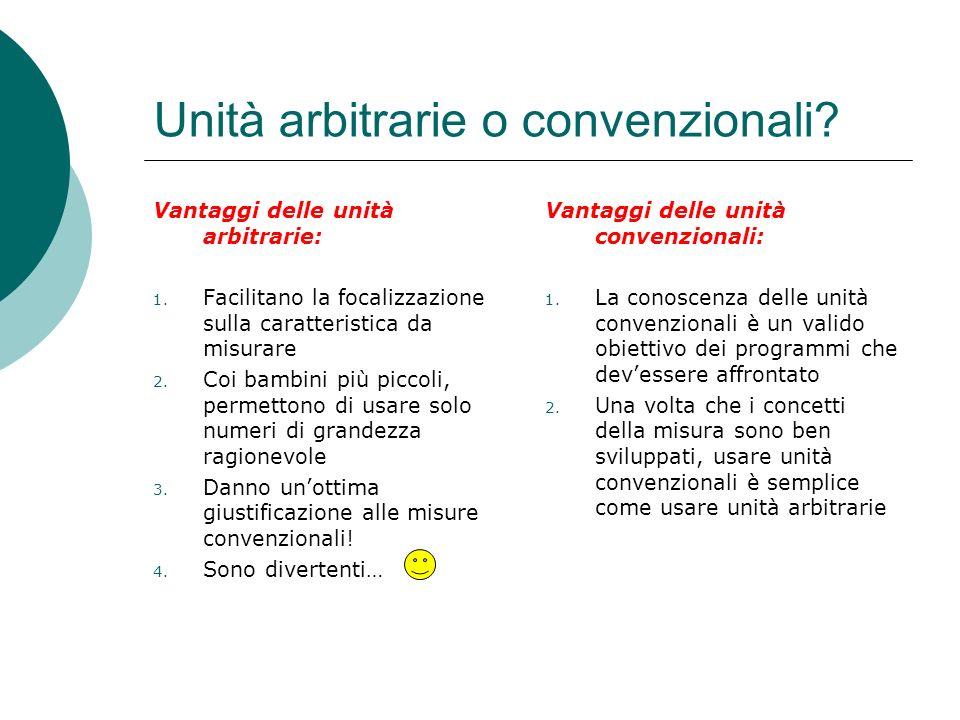Unità arbitrarie o convenzionali? Vantaggi delle unità arbitrarie: 1. Facilitano la focalizzazione sulla caratteristica da misurare 2. Coi bambini più
