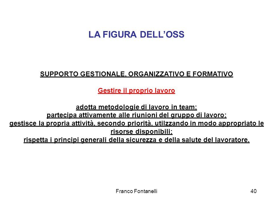 Franco Fontanelli40 LA FIGURA DELLOSS SUPPORTO GESTIONALE, ORGANIZZATIVO E FORMATIVO Gestire il proprio lavoro adotta metodologie di lavoro in team; p
