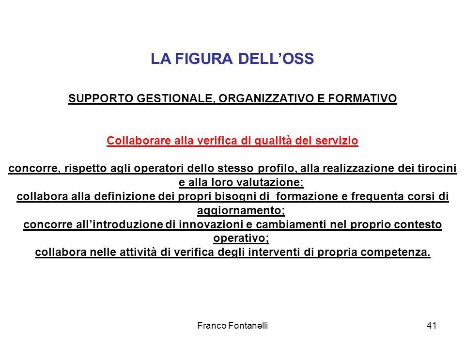 Franco Fontanelli41 LA FIGURA DELLOSS SUPPORTO GESTIONALE, ORGANIZZATIVO E FORMATIVO Collaborare alla verifica di qualità del servizio concorre, rispe