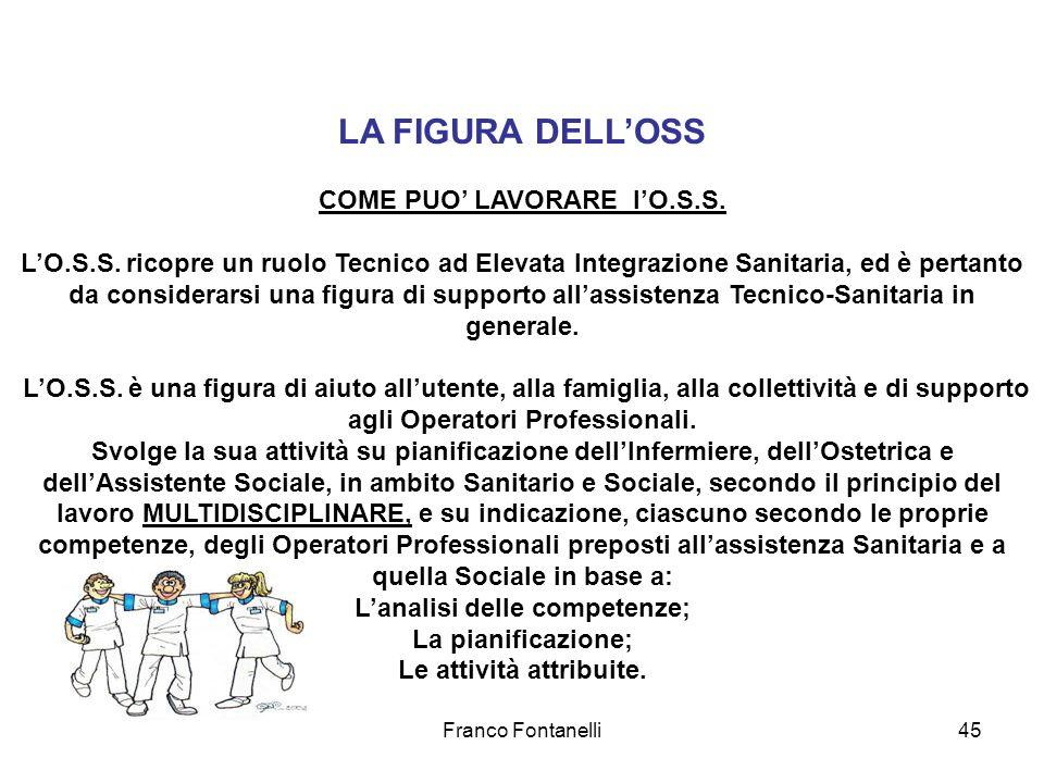 Franco Fontanelli45 LA FIGURA DELLOSS COME PUO LAVORARE lO.S.S. LO.S.S. ricopre un ruolo Tecnico ad Elevata Integrazione Sanitaria, ed è pertanto da c