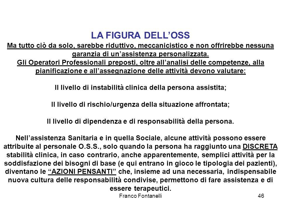 Franco Fontanelli46 LA FIGURA DELLOSS Ma tutto ciò da solo, sarebbe riduttivo, meccanicistico e non offrirebbe nessuna garanzia di unassistenza person
