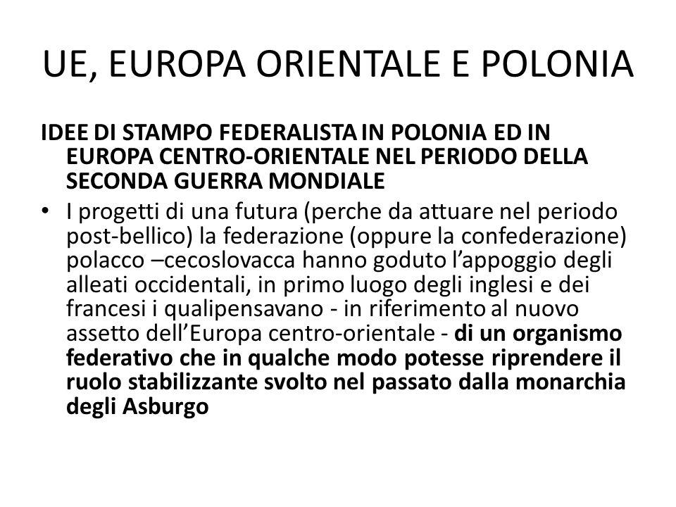 UE, EUROPA ORIENTALE E POLONIA IDEE DI STAMPO FEDERALISTA IN POLONIA ED IN EUROPA CENTRO-ORIENTALE NEL PERIODO DELLA SECONDA GUERRA MONDIALE I progett