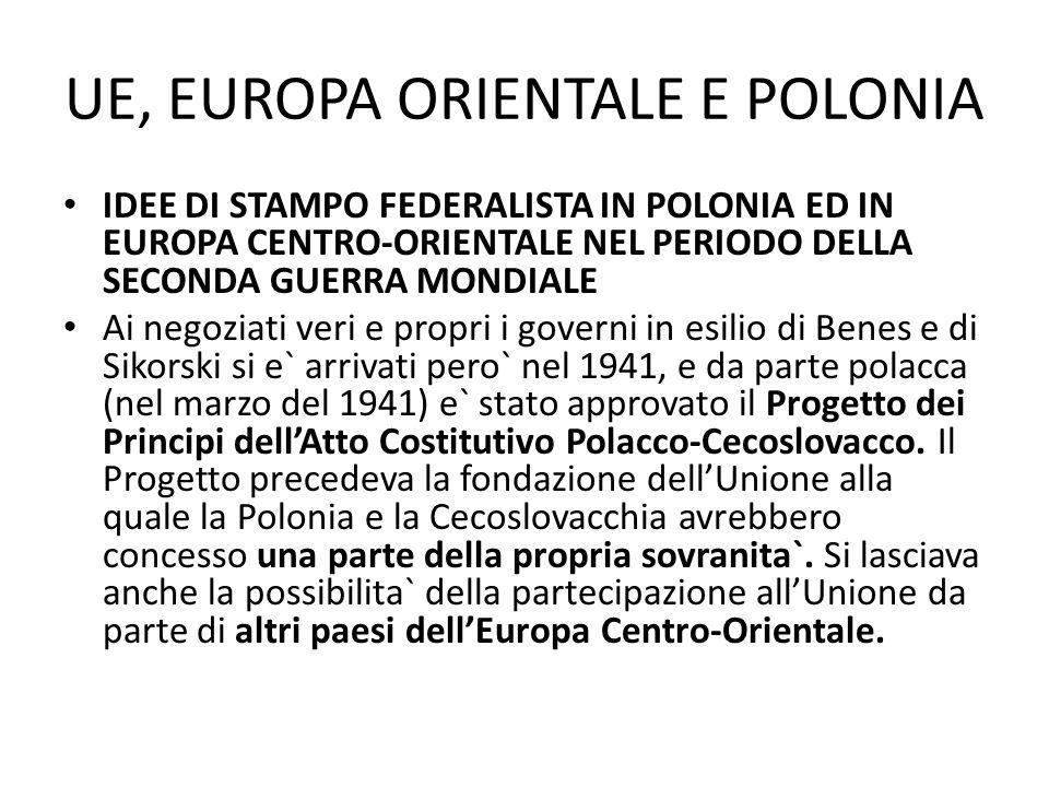 UE, EUROPA ORIENTALE E POLONIA IDEE DI STAMPO FEDERALISTA IN POLONIA ED IN EUROPA CENTRO-ORIENTALE NEL PERIODO DELLA SECONDA GUERRA MONDIALE Ai negozi