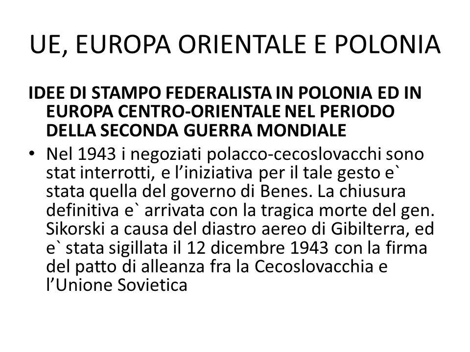 UE, EUROPA ORIENTALE E POLONIA IDEE DI STAMPO FEDERALISTA IN POLONIA ED IN EUROPA CENTRO-ORIENTALE NEL PERIODO DELLA SECONDA GUERRA MONDIALE Nel 1943