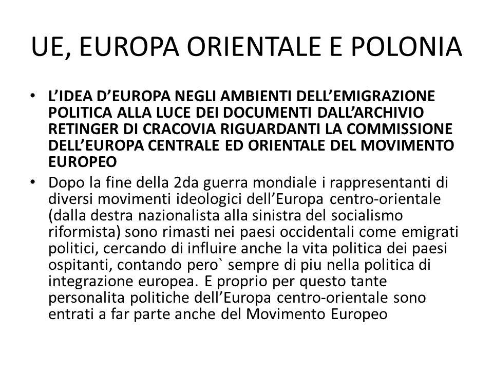 UE, EUROPA ORIENTALE E POLONIA LIDEA DEUROPA NEGLI AMBIENTI DELLEMIGRAZIONE POLITICA ALLA LUCE DEI DOCUMENTI DALLARCHIVIO RETINGER DI CRACOVIA RIGUARD