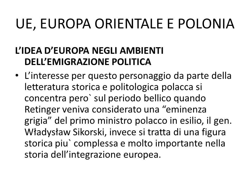 UE, EUROPA ORIENTALE E POLONIA LIDEA DEUROPA NEGLI AMBIENTI DELLEMIGRAZIONE POLITICA Linteresse per questo personaggio da parte della letteratura stor