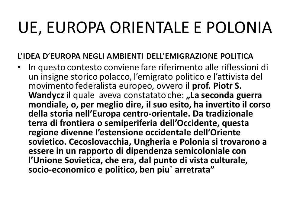 UE, EUROPA ORIENTALE E POLONIA LIDEA DEUROPA NEGLI AMBIENTI DELLEMIGRAZIONE POLITICA In questo contesto conviene fare riferimento alle riflessioni di